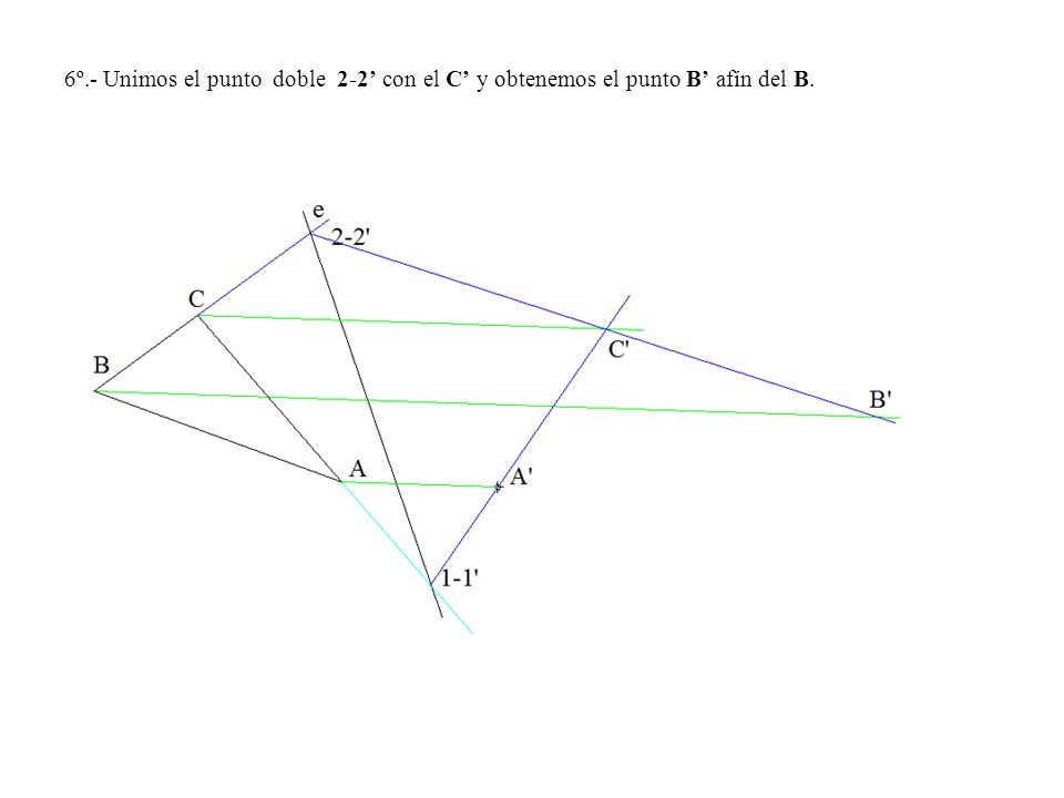 6º.- Unimos el punto doble 2-2' con el C' y obtenemos el punto B' afín del B.