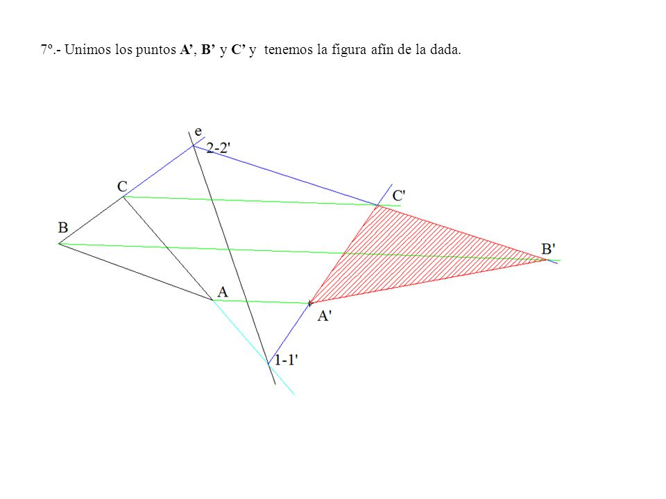 7º.- Unimos los puntos A', B' y C' y tenemos la figura afín de la dada.