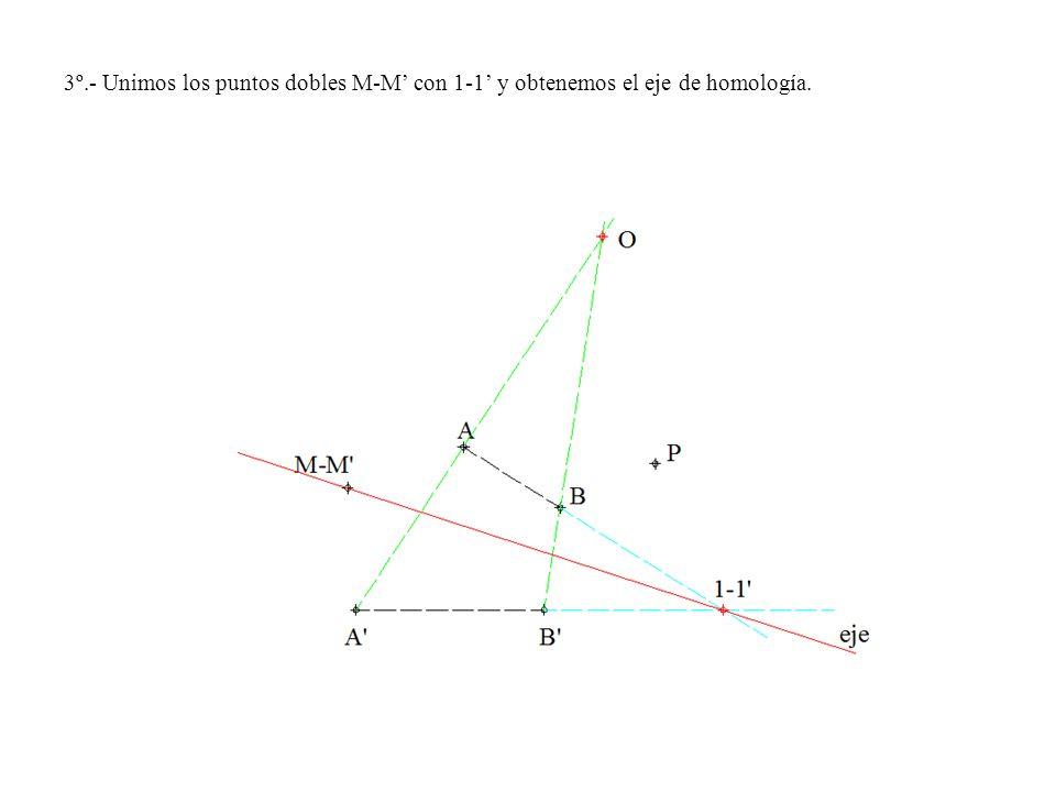 3º.- Unimos los puntos dobles M-M' con 1-1' y obtenemos el eje de homología.