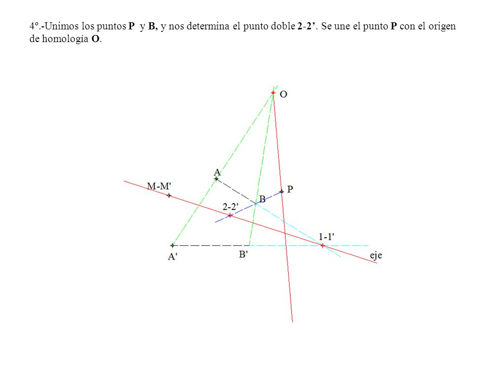 4º. -Unimos los puntos P y B, y nos determina el punto doble 2-2'