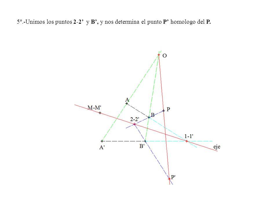 5º.-Unimos los puntos 2-2' y B', y nos determina el punto P' homologo del P.