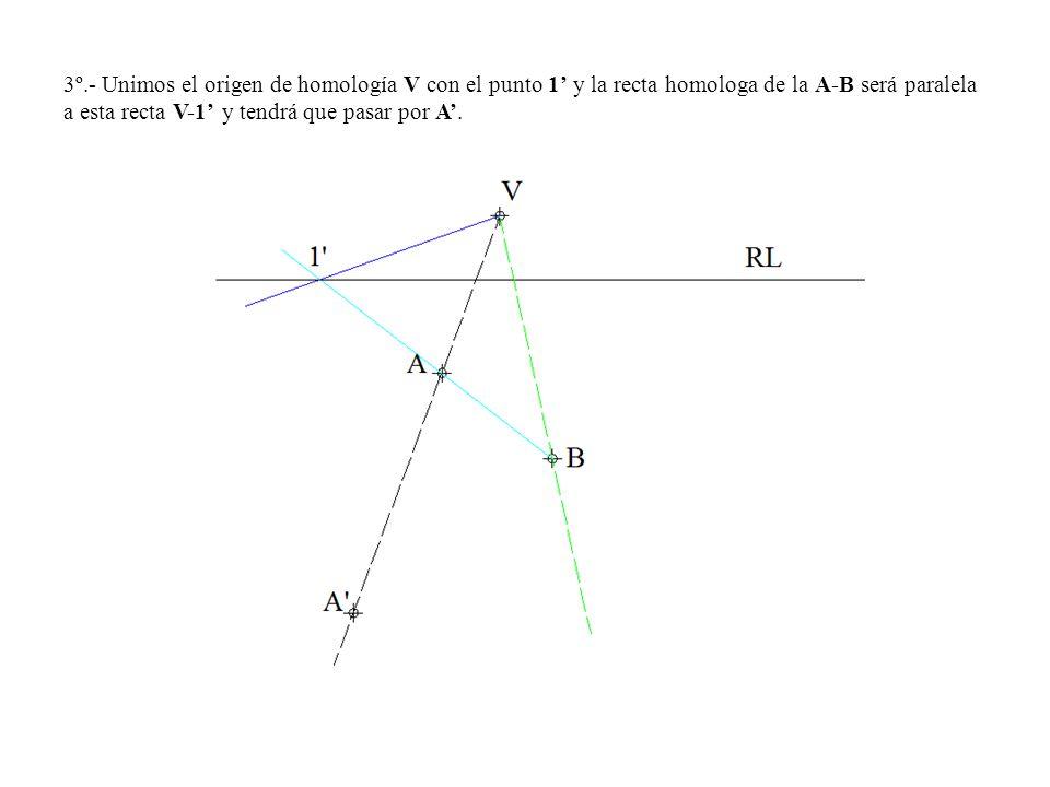 3º.- Unimos el origen de homología V con el punto 1' y la recta homologa de la A-B será paralela a esta recta V-1' y tendrá que pasar por A'.