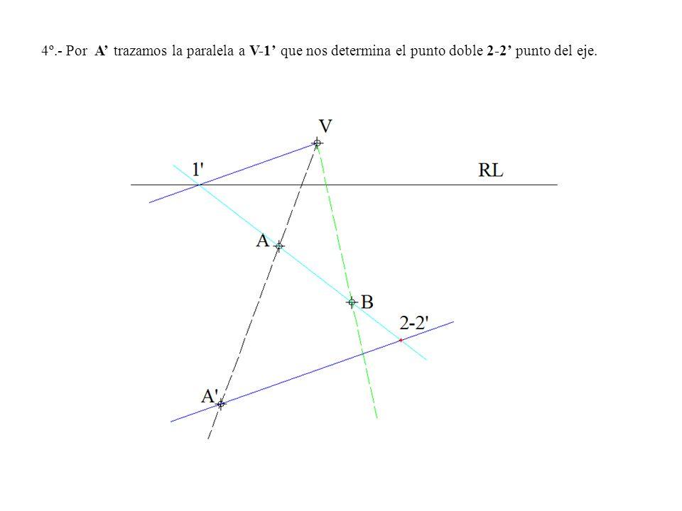 4º.- Por A' trazamos la paralela a V-1' que nos determina el punto doble 2-2' punto del eje.