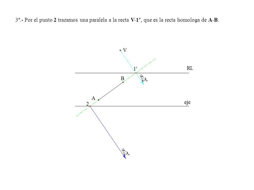 3º.- Por el punto 2 trazamos una paralela a la recta V-1', que es la recta homologa de A-B.
