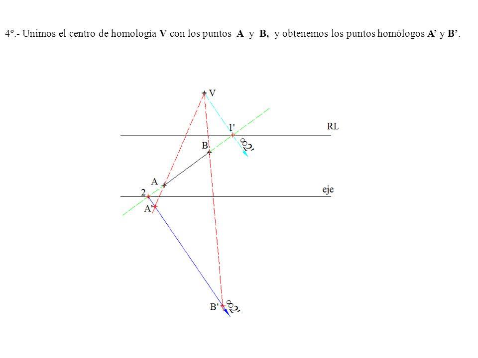 4º.- Unimos el centro de homología V con los puntos A y B, y obtenemos los puntos homólogos A' y B'.