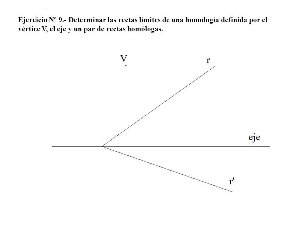 Ejercicio Nº 9.- Determinar las rectas límites de una homología definida por el vértice V, el eje y un par de rectas homólogas.