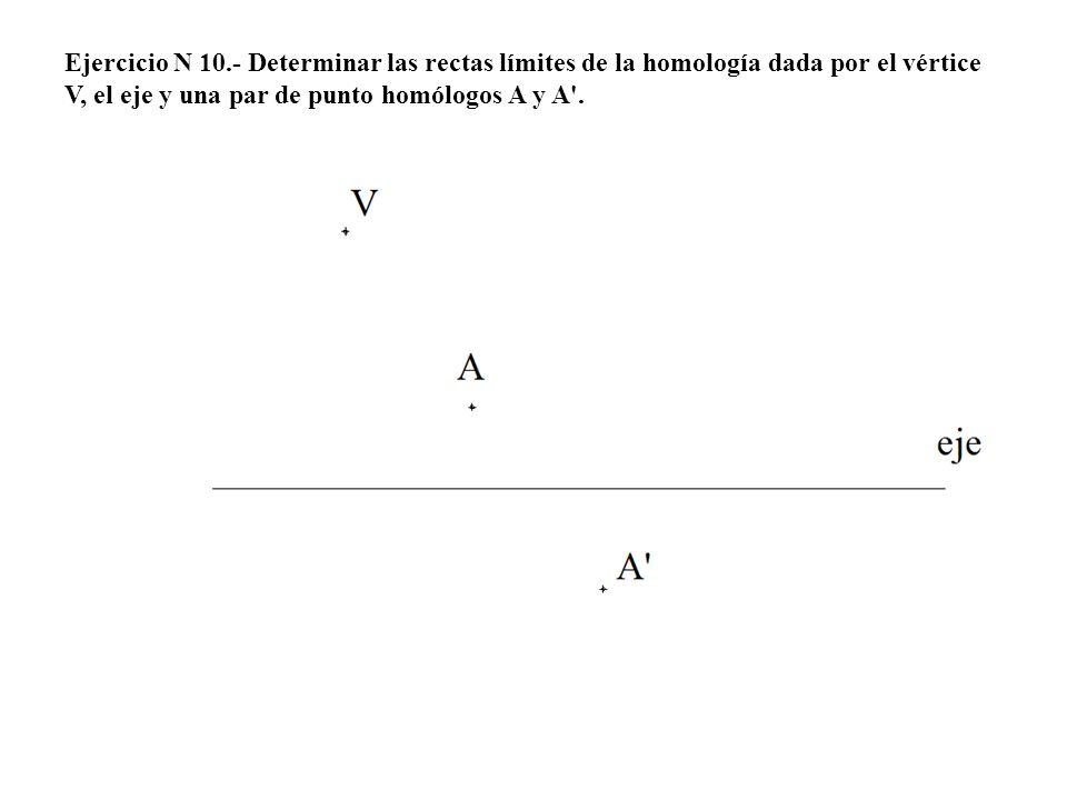 Ejercicio N 10.- Determinar las rectas límites de la homología dada por el vértice V, el eje y una par de punto homólogos A y A .