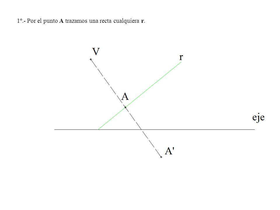 1º.- Por el punto A trazamos una recta cualquiera r.