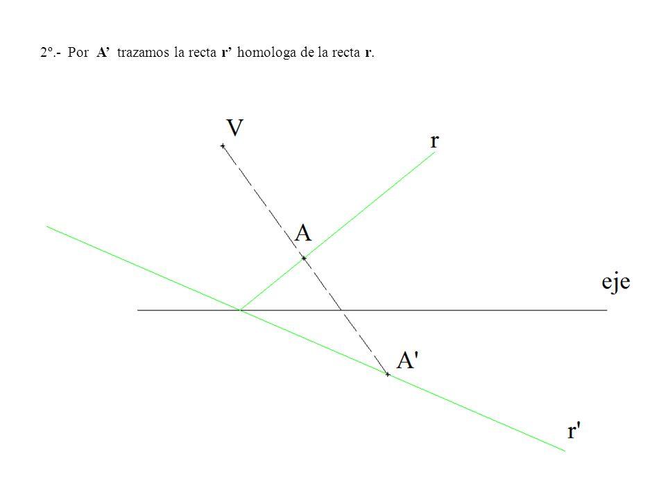 2º.- Por A' trazamos la recta r' homologa de la recta r.