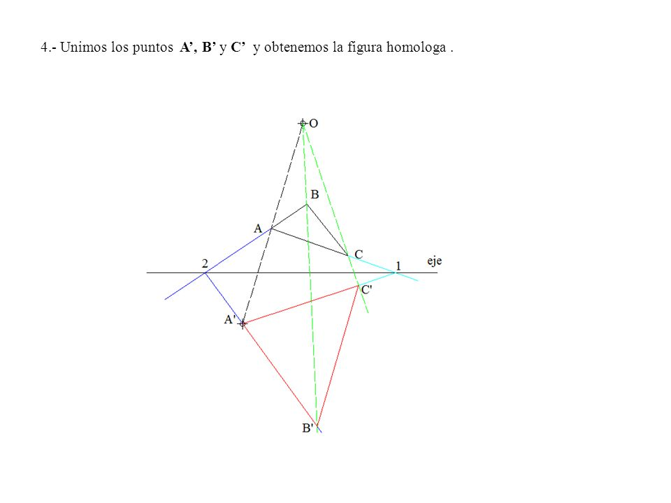 4.- Unimos los puntos A', B' y C' y obtenemos la figura homologa .