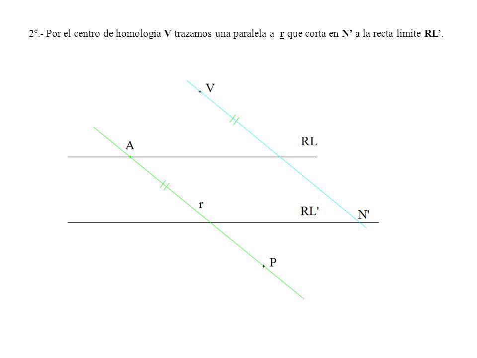 2º.- Por el centro de homología V trazamos una paralela a r que corta en N' a la recta limite RL'.