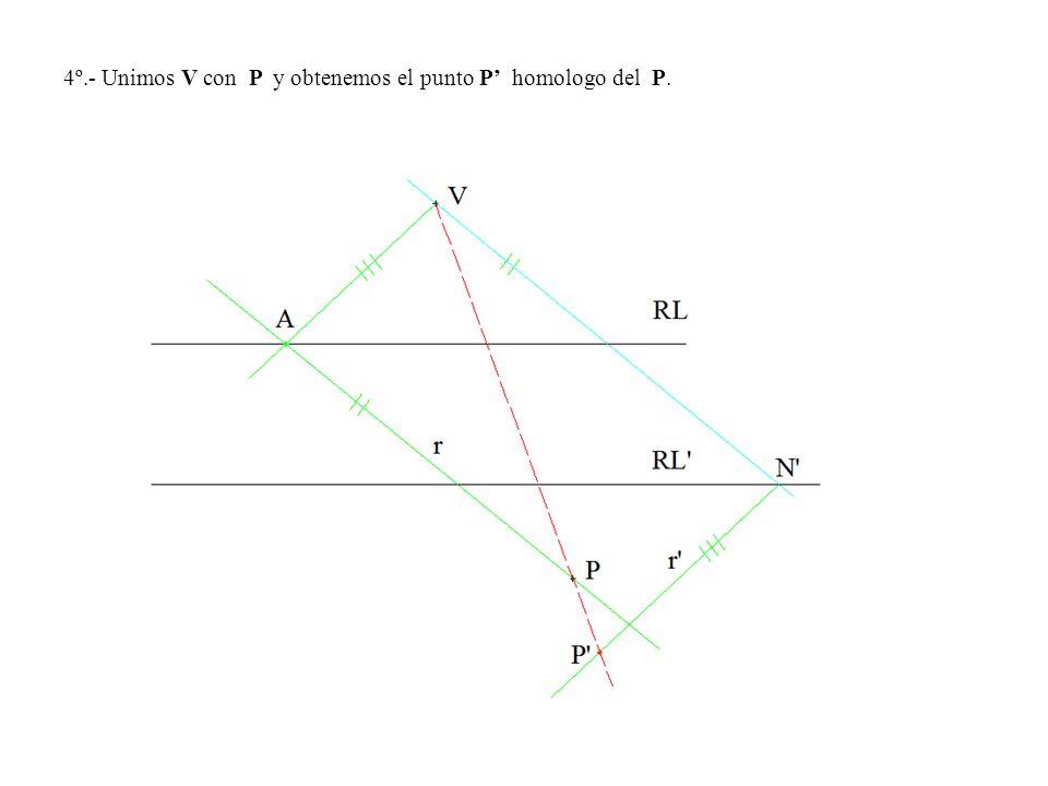 4º.- Unimos V con P y obtenemos el punto P' homologo del P.