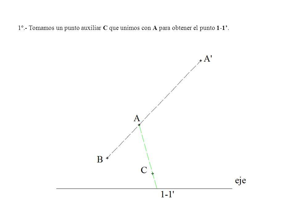 1º.- Tomamos un punto auxiliar C que unimos con A para obtener el punto 1-1'.