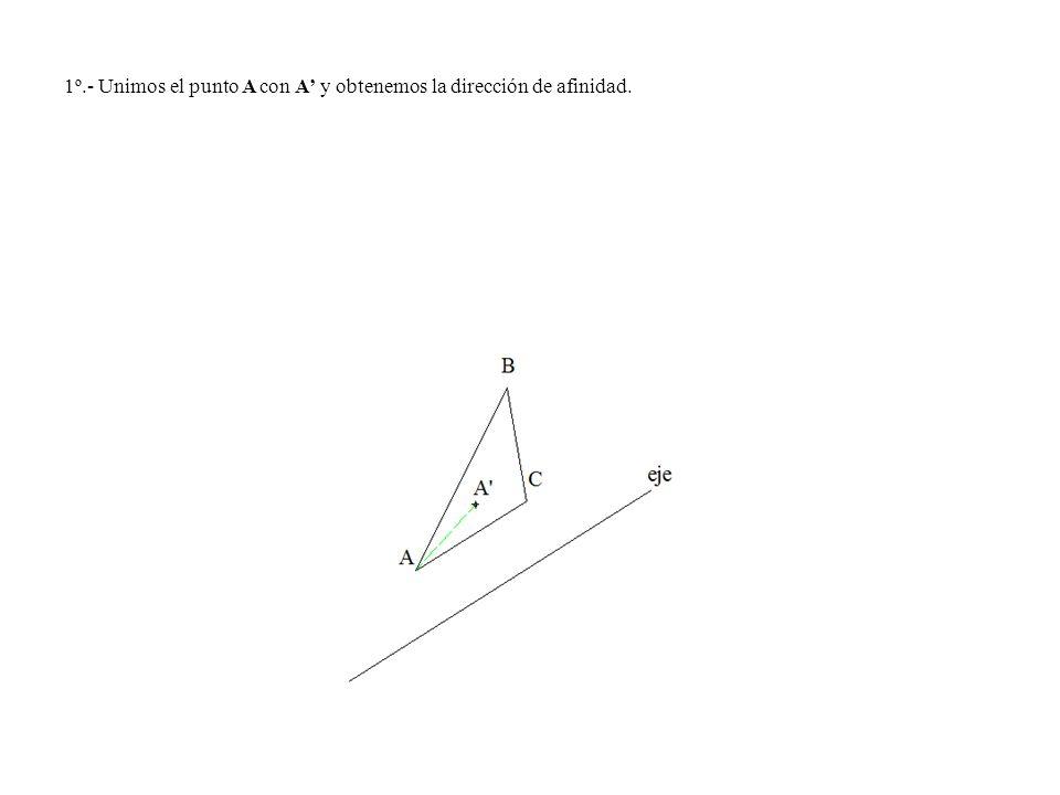 1º.- Unimos el punto A con A' y obtenemos la dirección de afinidad.