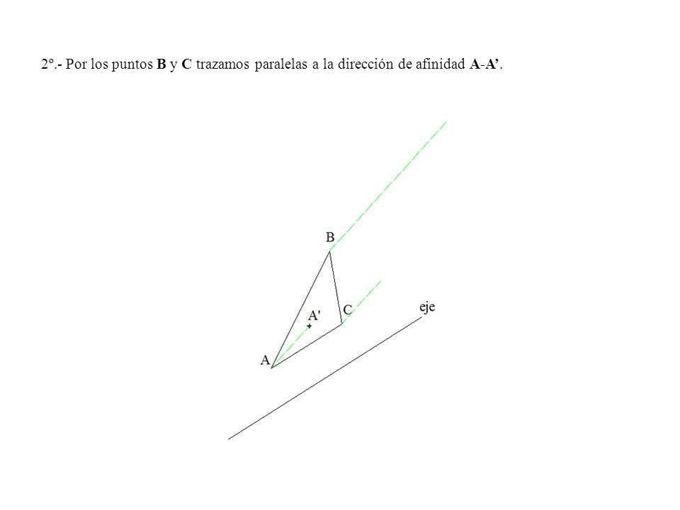 2º.- Por los puntos B y C trazamos paralelas a la dirección de afinidad A-A'.