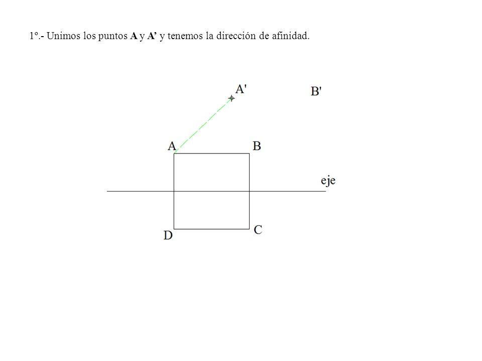 1º.- Unimos los puntos A y A' y tenemos la dirección de afinidad.