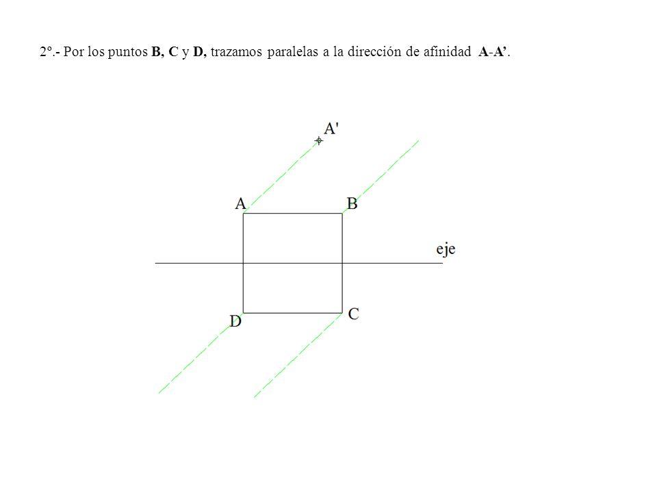2º.- Por los puntos B, C y D, trazamos paralelas a la dirección de afinidad A-A'.