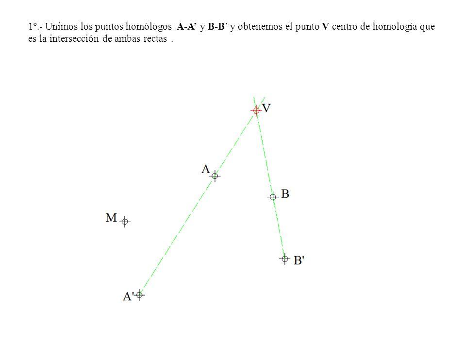 1º.- Unimos los puntos homólogos A-A' y B-B' y obtenemos el punto V centro de homología que es la intersección de ambas rectas .