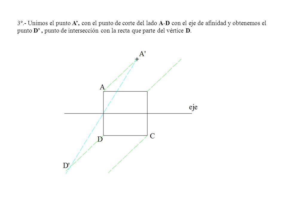 3º.- Unimos el punto A', con el punto de corte del lado A-D con el eje de afinidad y obtenemos el punto D' , punto de intersección con la recta que parte del vértice D.