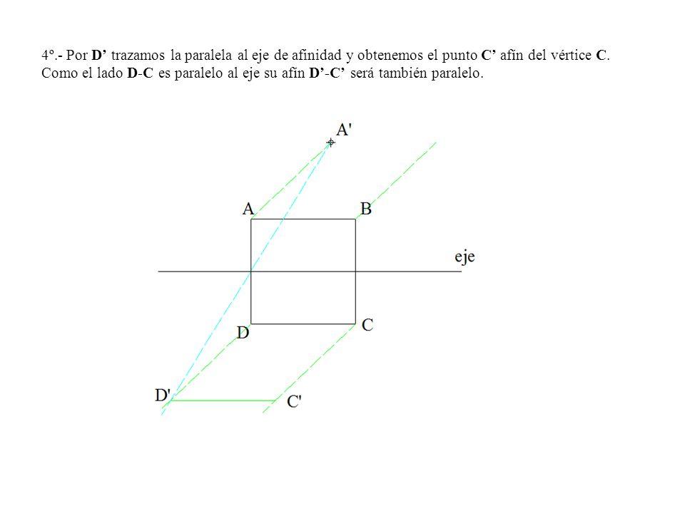 4º.- Por D' trazamos la paralela al eje de afinidad y obtenemos el punto C' afín del vértice C.