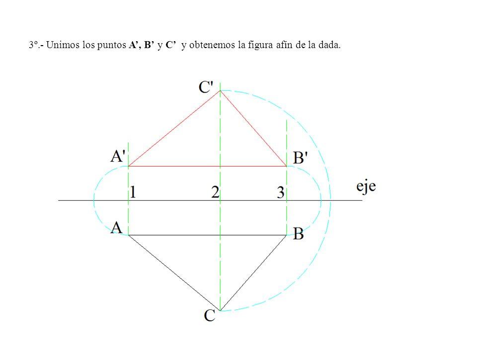 3º.- Unimos los puntos A', B' y C' y obtenemos la figura afín de la dada.
