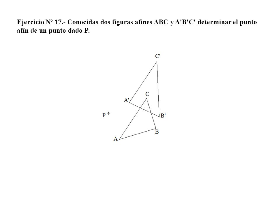 Ejercicio Nº 17.- Conocidas dos figuras afines ABC y A B C determinar el punto afín de un punto dado P.