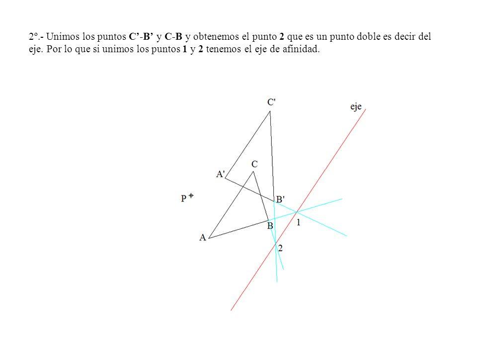 2º.- Unimos los puntos C'-B' y C-B y obtenemos el punto 2 que es un punto doble es decir del eje.