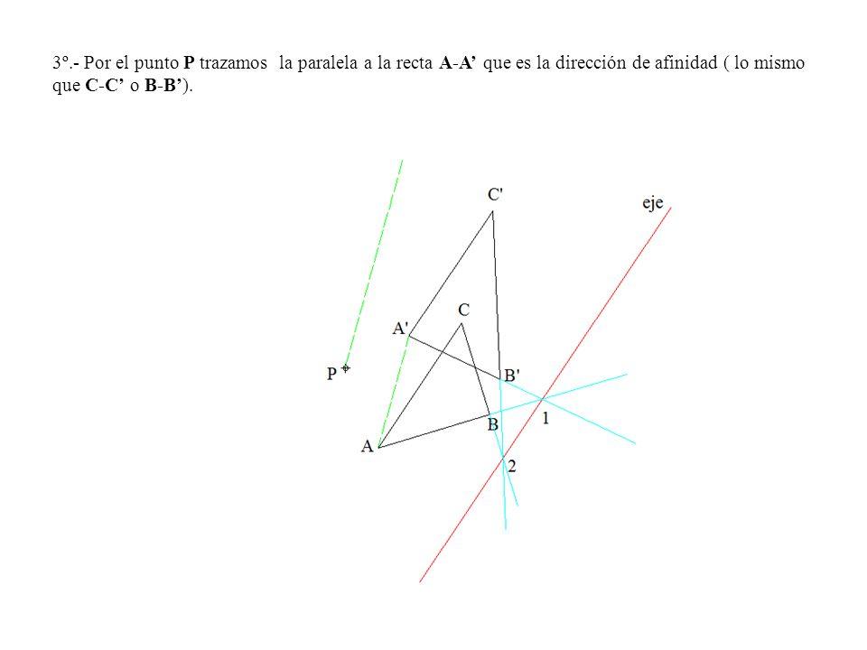 3º.- Por el punto P trazamos la paralela a la recta A-A' que es la dirección de afinidad ( lo mismo que C-C' o B-B').