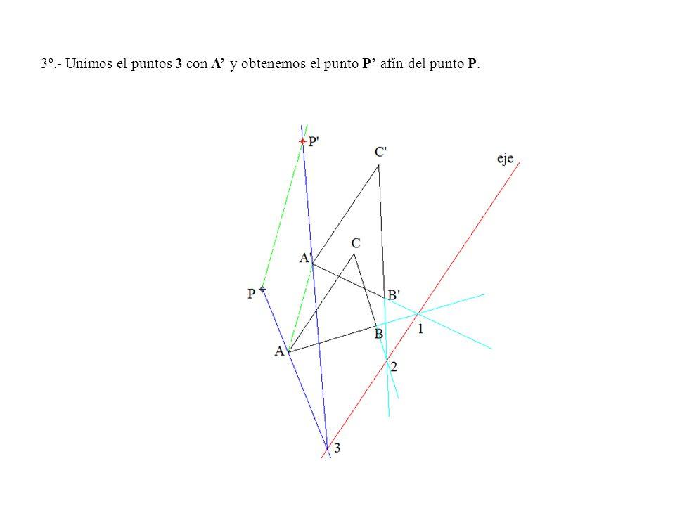 3º.- Unimos el puntos 3 con A' y obtenemos el punto P' afín del punto P.