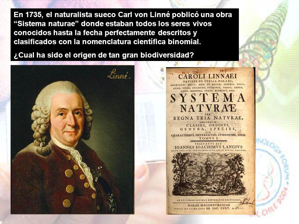 En 1735, el naturalista sueco Carl von Linné poblicó una obra Sistema naturae donde estaban todos los seres vivos conocidos hasta la fecha perfectamente descritos y clasificados con la nomenclatura científica binomial.