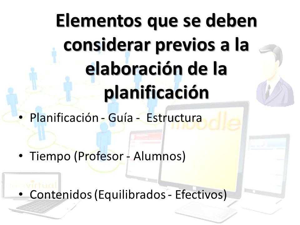 Elementos que se deben considerar previos a la elaboración de la planificación
