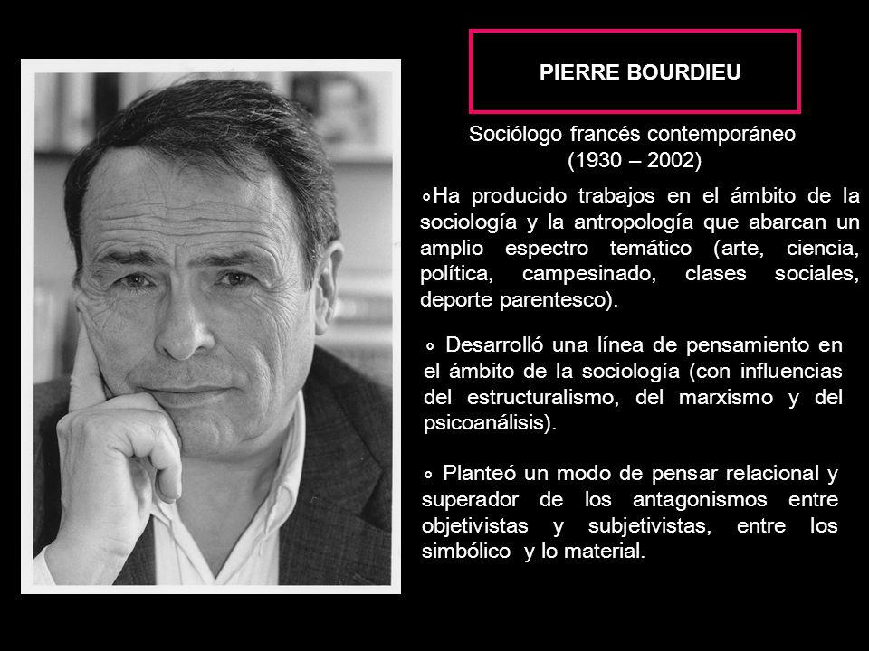 PIERRE BOURDIEU Sociólogo francés contemporáneo. (1930 – 2002)
