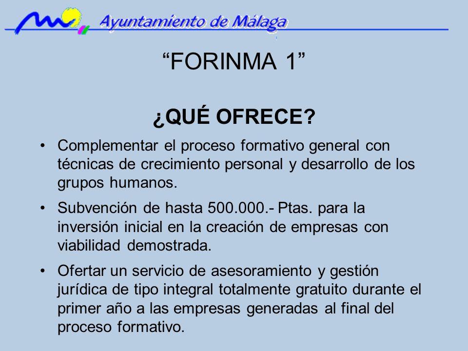 FORINMA 1 ¿QUÉ OFRECE Complementar el proceso formativo general con técnicas de crecimiento personal y desarrollo de los grupos humanos.