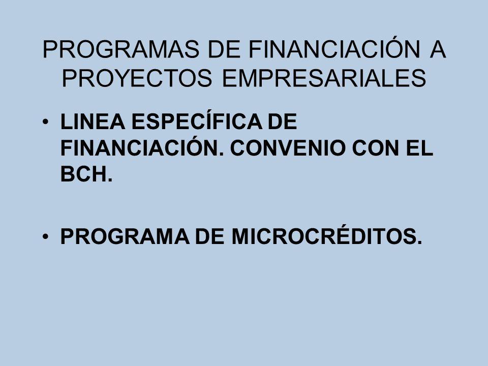 PROGRAMAS DE FINANCIACIÓN A PROYECTOS EMPRESARIALES