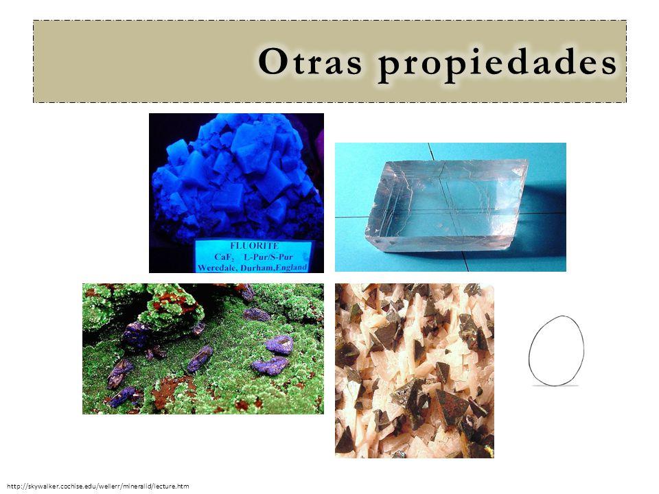 Otras propiedades http://skywalker.cochise.edu/wellerr/mineralid/lecture.htm