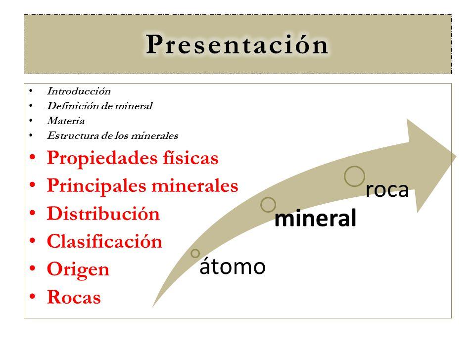 Presentación mineral roca átomo Propiedades físicas