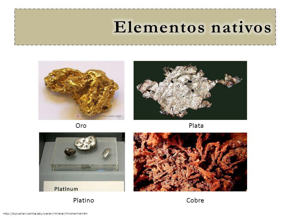 Elementos nativos Oro Plata Platino Cobre