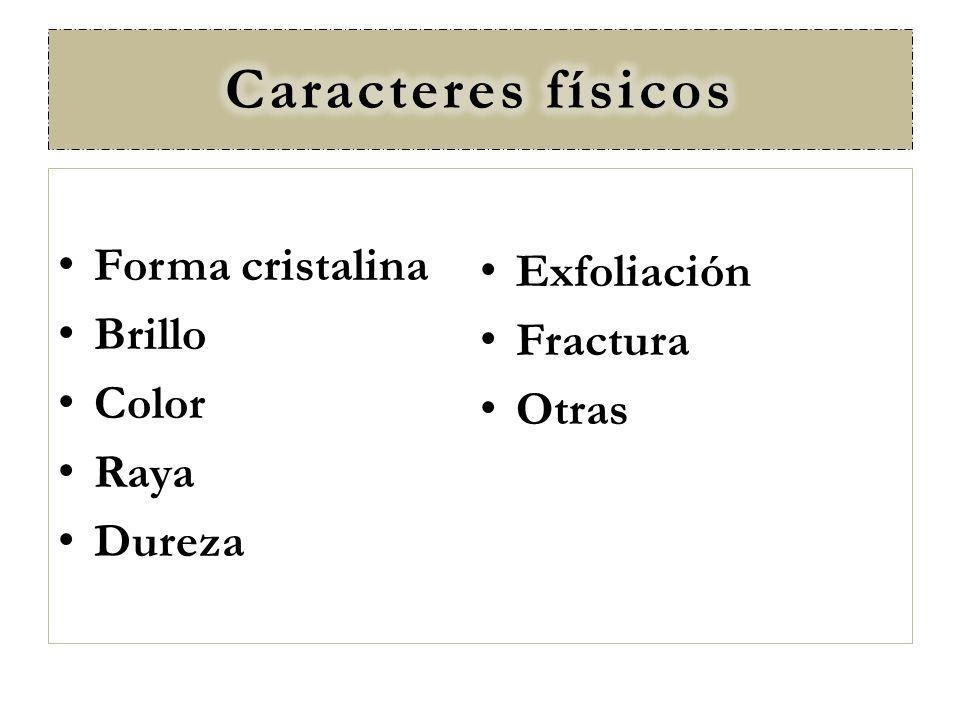 Caracteres físicos Forma cristalina Exfoliación Brillo Fractura Color