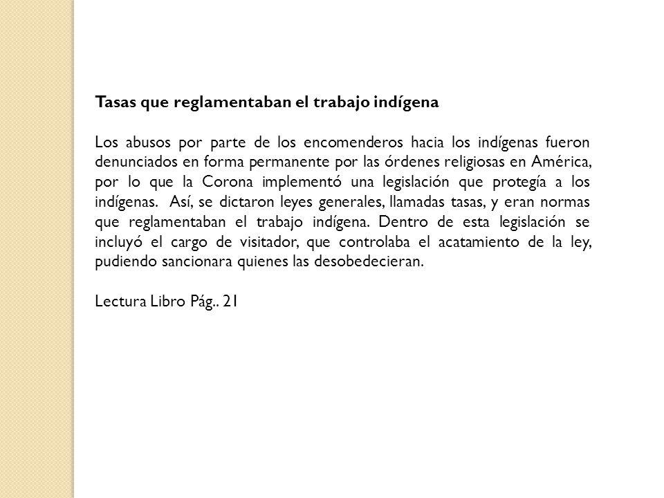 Tasas que reglamentaban el trabajo indígena