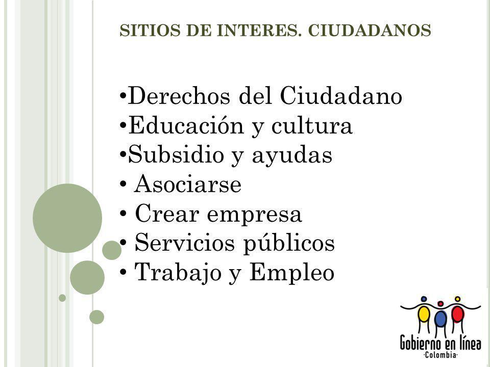 SITIOS DE INTERES. CIUDADANOS