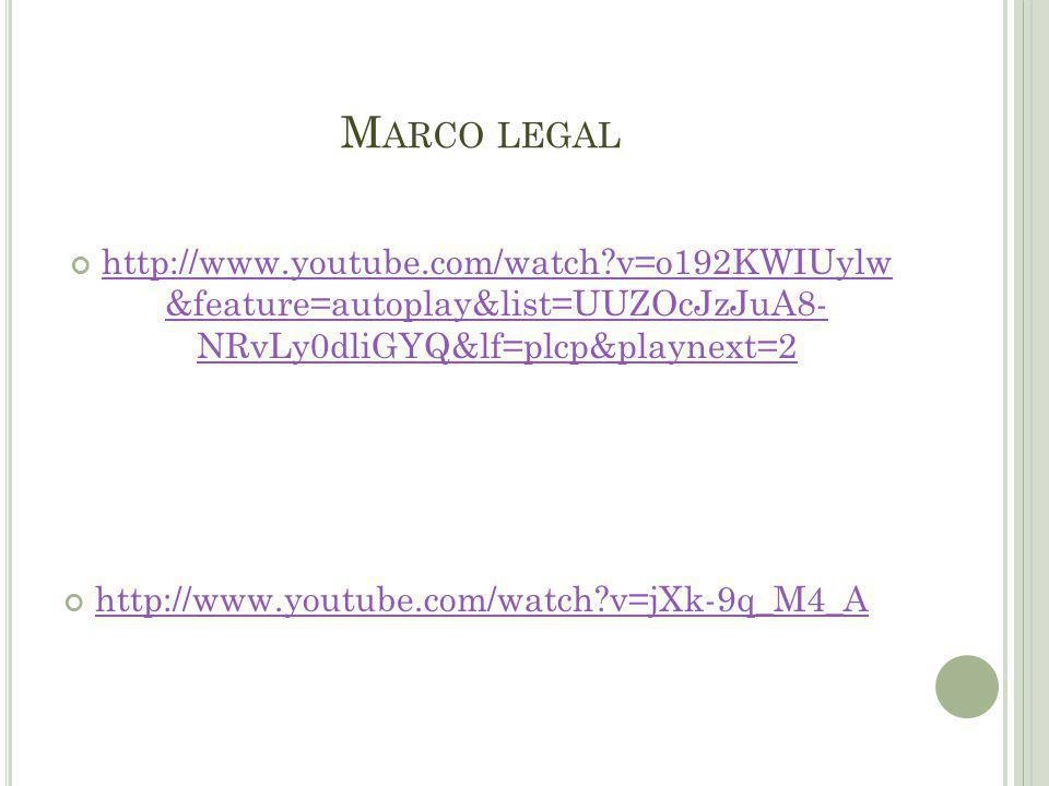 Marco legal http://www.youtube.com/watch v=o192KWIUylw &feature=autoplay&list=UUZOcJzJuA8- NRvLy0dliGYQ&lf=plcp&playnext=2.