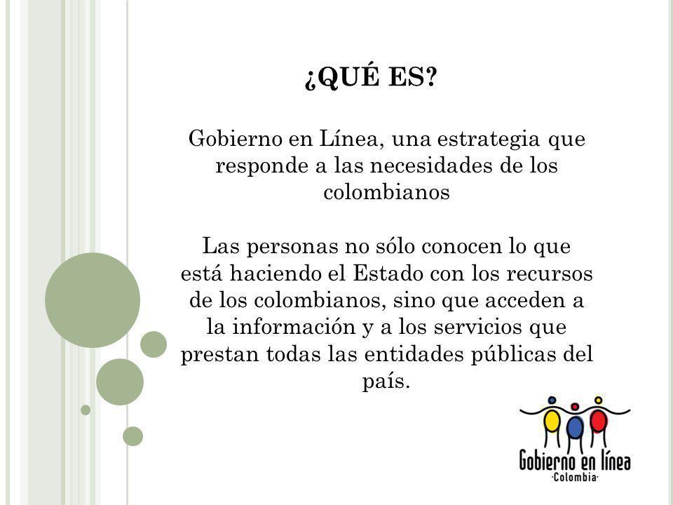 ¿QUÉ ES Gobierno en Línea, una estrategia que responde a las necesidades de los colombianos.
