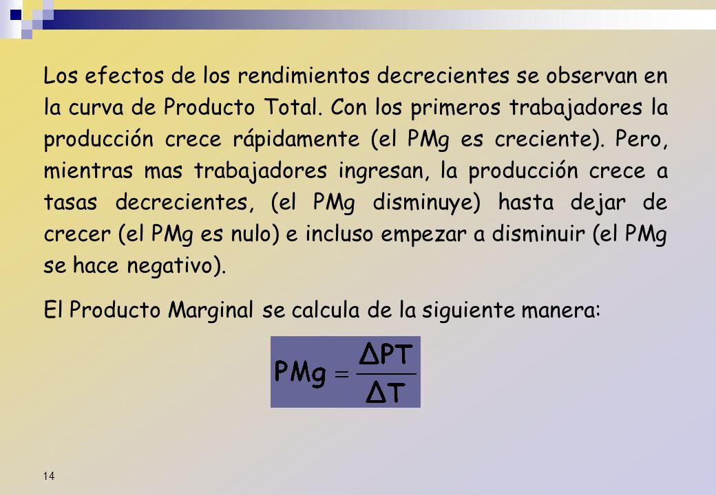Los efectos de los rendimientos decrecientes se observan en la curva de Producto Total. Con los primeros trabajadores la producción crece rápidamente (el PMg es creciente). Pero, mientras mas trabajadores ingresan, la producción crece a tasas decrecientes, (el PMg disminuye) hasta dejar de crecer (el PMg es nulo) e incluso empezar a disminuir (el PMg se hace negativo).