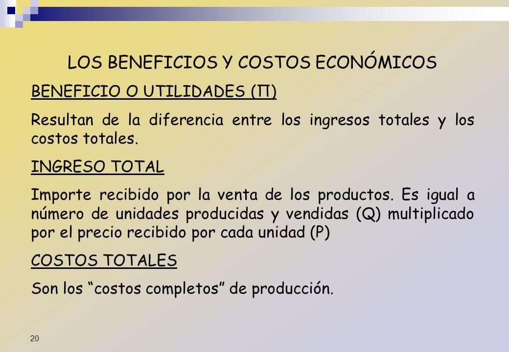 LOS BENEFICIOS Y COSTOS ECONÓMICOS