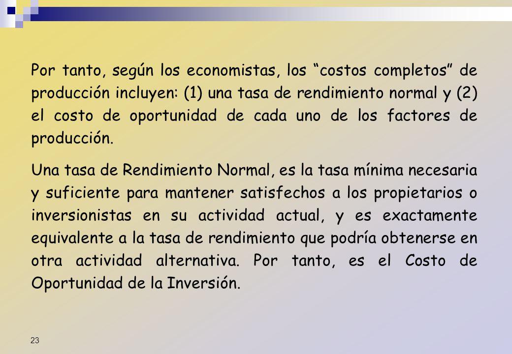 Por tanto, según los economistas, los costos completos de producción incluyen: (1) una tasa de rendimiento normal y (2) el costo de oportunidad de cada uno de los factores de producción.