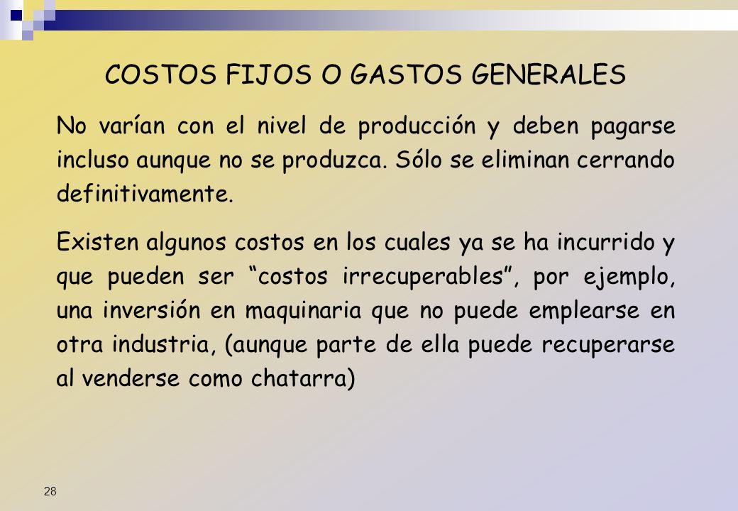 COSTOS FIJOS O GASTOS GENERALES