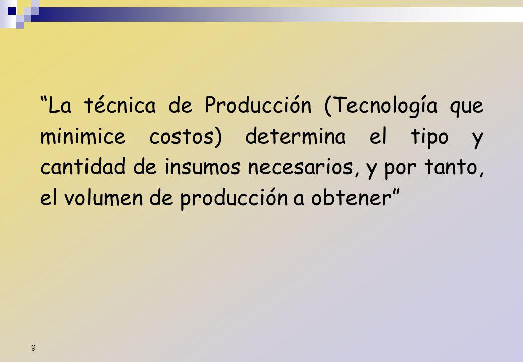 La técnica de Producción (Tecnología que minimice costos) determina el tipo y cantidad de insumos necesarios, y por tanto, el volumen de producción a obtener