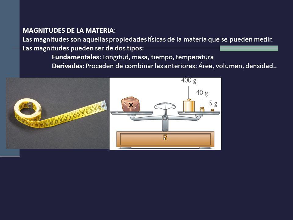MAGNITUDES DE LA MATERIA: