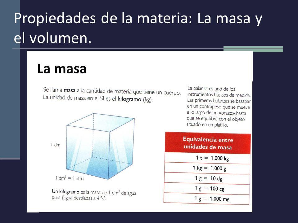 Propiedades de la materia: La masa y el volumen.