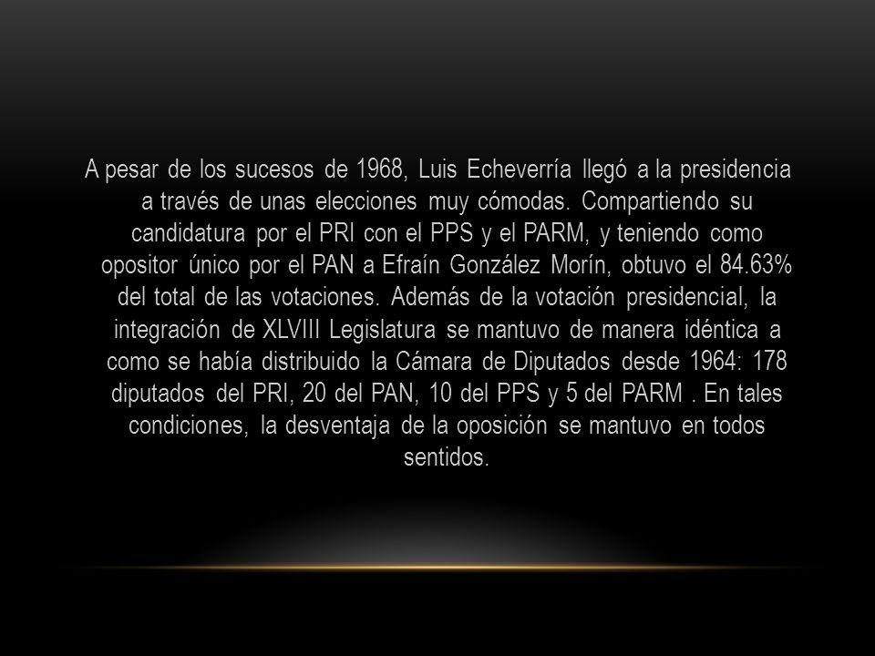 A pesar de los sucesos de 1968, Luis Echeverría llegó a la presidencia a través de unas elecciones muy cómodas.